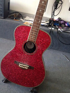 Pink glitter right hand guitar Stratford Kitchener Area image 2
