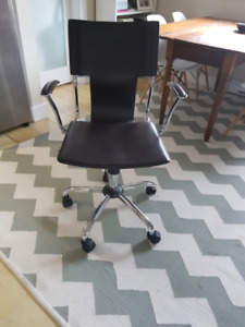 Brown Leather and Chrome Office Chair