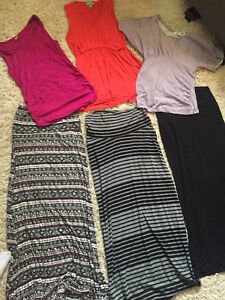 Maternity tops and maxi skirts