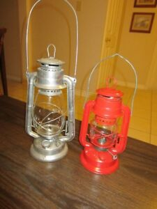 Two well-made vintage oil/paraffin-burning Storm Lanterns