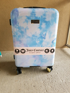 "Juicy Couture Hardshell Luggage 21"" NWT Clouds Pink Blue White"