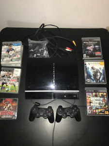 Playstation 3 + 2 Controllers + 6 Games + HDMI