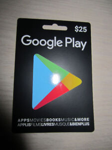 $25.00 GOOGLE PLAY CARD - NEW; NEVER USED!