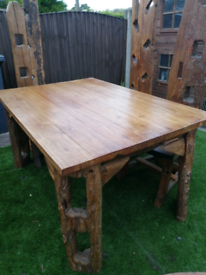 Rustic old barn beam dining table and 7 chairs