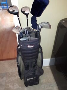 Acclaim Golf clubs 3-9, PW and 1,3,5 woods, putter, bag
