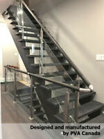 Glass railings with stainless steel hardware