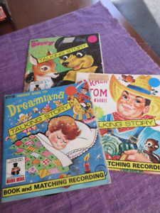 3 Vintage Talking Stories - Book and Record.... Farmer Tom...