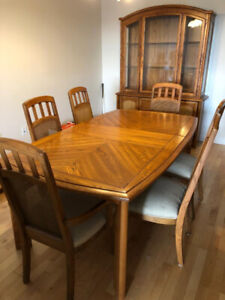 Solid Oak Dining Set with Buffet and Hutch