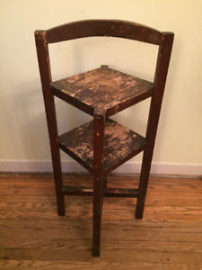 Two Small Solid Wood Side Tables/Shelves -- Vintage/Shabby Chic