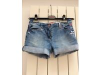 NEXT Girl Denim Shorts 9yrs Embroidery Detail