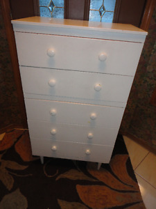 Three Painted Solid Wood Furniture Pieces  Dressers & End Table