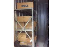Large metallic storage shelves
