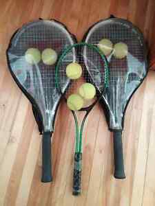 3 rackets + balls for sale