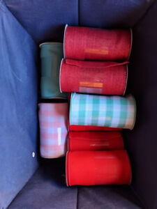 Lot of 10 Wide Ribbon Rolls - Great for Christmas