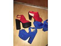 2 X suede block heels