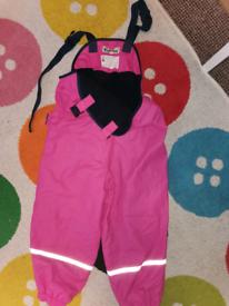 Pink, fleece lined waterproofs