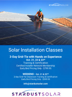 Solar installation classes & certification WEEKEND of Oct. 21st