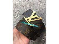 Brand New Men's LV Louis Vuitton Monogram Belt + Gucci stock