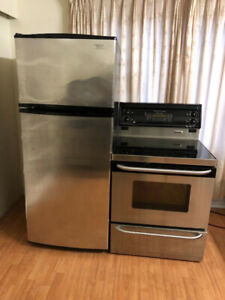 Stainless steel top freezer bottom fridge electric stove range
