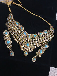 Brand new hand made kundan necklace & earrings set $110