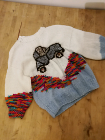 Handmade Knitted Jumper Pullover Boys 2-3 years old