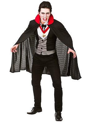 Mens Horror Fancy Dress Up Party Halloween Bloodthirsty Count Vampire Costume (Halloween Dress Up Man)