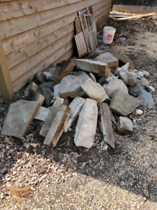 Assorted lanscaping rock and stone