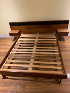 Mid Century Modern Queen bed frame with floating side drawers