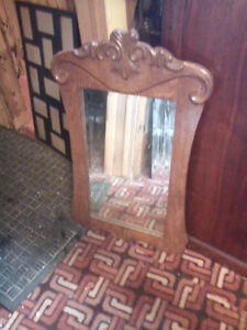 Ornate beveled glass mirror
