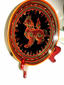 fine BURMESE LACQUER antique WOOD Plate FOO LION gorgeous PanYun Cambridge Kitchener Area image 7