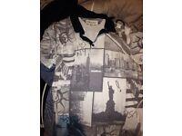 Men's white New York polo t shirt