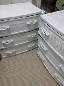 Wicker style white chest drawers