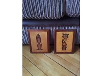 Wooden dog & cat pictures