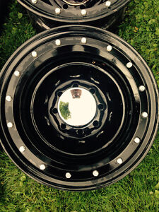 """Black 18"""" - 8 bolt Chevy rims with chrome hubs for sale / trade!"""