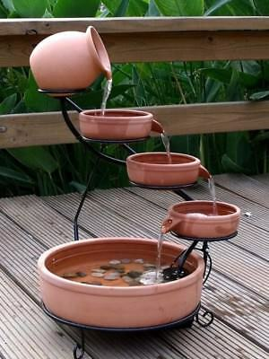 - ASC Sundance Terracotta Solar Water Fountain Cascade w/ Pump Kit Daytime Version