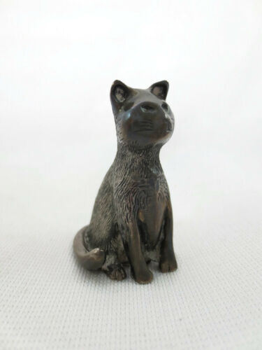 Antique Sterling Silver S Kirk & Son Miniature Cat Figurine Solid 67 grams RARE