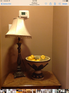 Table Lamp with Matching Bowl