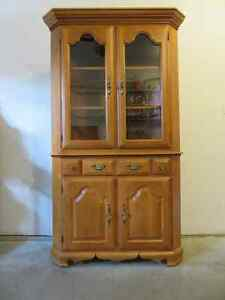 shermag solid maple corner china cabinet