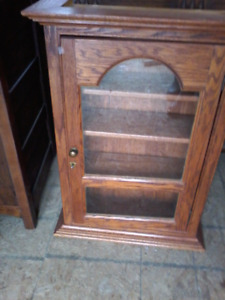 Handcrafted Oak Display Cabinet w lock and key