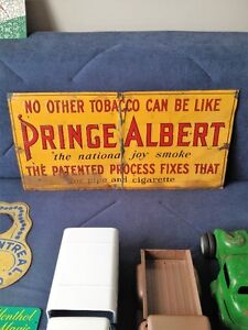 1920s RARE PRINCE ALBERT TOBACCO EMBOSSED TIN SIGN