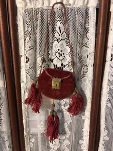 Antique Exquisite French Rose Velvet Doll Purse from Paris