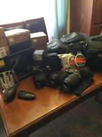 Nikon D7000 with additional lenses, filters, flash, bags