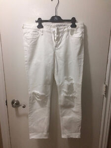 H&M White Ripped Girlfriend Fit Low Waist Jeans