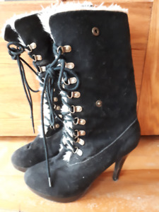 Boots - High Heel - Black Suede with Fur - Winter / Fall