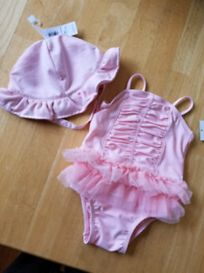 6-12 month bathing suit and sunhat
