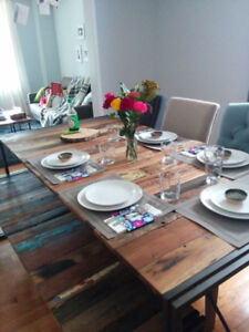 Artemano Reclaimed Boatwood Dining Table, Bench, Chairs