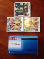 3DS XL with 3 Mario games