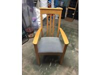 Two Solid Oak Carver Chairs