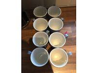 8 Denby blue jetty footed mugs
