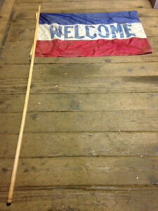 Flag - Welcome Flag on 7 foot stick $30